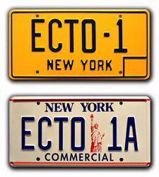 Ghostbusters 1 And 2 | Ecto-1 + Ecto-1a | Stamped Replica Prop License Plate Combo