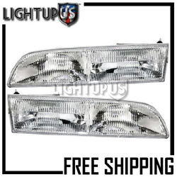 1992-1997 Ford Crown Victoria Left Right Sides Pair Headlights Headlamps