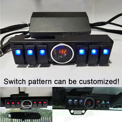 6 Rocker Switch Panel Cotrol Bracket With Digital Voltmeter For Jeep JK 2007-16