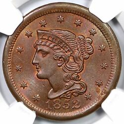 1852 N-15 R-3 Ngc Ms 66 Rb Braided Hair Large Cent Coin 1c