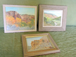 Lot Of 3 Original Oil Paintings By Peggy Arenz Beautiful Western Landscapes