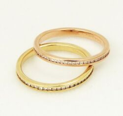 2600 Pair 14k Rose Gold And 14k Yellow Gold Eternity Bands .54 Tcw G/si Sz 5.75