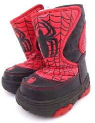 Marvel SpiderMan Boys Kids Warm Winter Snow Light Up Boots Size S 5 6 NWT