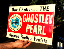 Vintage Ghostly Pearl Feed Farm Egg Mash Metal Sign Chicken Graphic 12X18 Cow