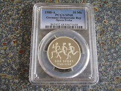 Germany Gdr 10 Mark Silver Pattern 1988 Sport Pcgs Sp68 Scares 1000 Pieces Only