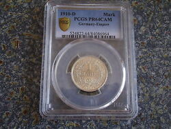 German Empire Proof 1 Mark Silver 1910 D Pcgs Pr 64 Cam Cameo Germany Issue