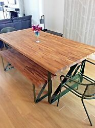 Oak Dining Table And Benches | Handmade Bespoke Steel Legs | All Sizes Custom Made