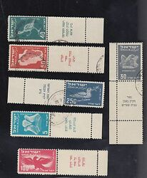 Israel Stamps 1st Ai Mail , Ear 1949 Scott C1-5 Used, Full Tabs 6 Mnh