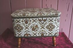 Large Vtg. Four Footed Sewing Basket With Vinyl Exterior