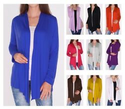 Classic Open Front Draped Cardigan Top Shirt Sweater Career Office SMLPlus Size