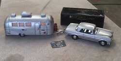 Vintage Tin Friction Car Mercedes 250-se With Handmade Airstream Camper Trailer