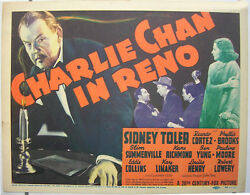 Charlie Chan In Reno Vintage Movie Poster Title Card Sidney Toler 1939