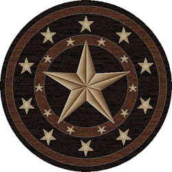 5and039 Round 5and0393 Texas Star Rustic Cowboy Western Area Rug Free Shipping