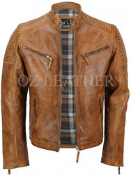 Mens Biker Quilted Vintage Distressed Classic Diamond Motorcycle Leather Jacket