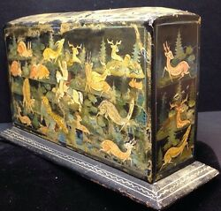 Historic Qajar Playing Cards Wooden Slipcase Artisan Paper Mache Painted Case