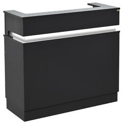 Reception Desk Reception Area Counter With Led Lighting - Langara In Black