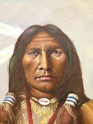 Indian Chief Oil Painting Artist F. Rowe, Noted Western Painter