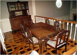 Antique - French Walnut Hutch With Mirror Plus Carved Table And 8 Chairs