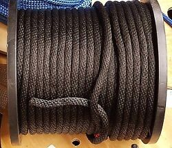 Anchor Rope Dock Line 1/4 X 100and039 Braided 100 Nylon Black Made In Usa