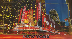 RADIO CITY MUSIC HALL by STEVE KAUFMAN Andy Warhol - HAND PAINTED Signed -UNIQUE