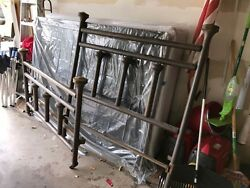 Full Size Antique Brass Bed With Rails, Mattress, And Box Springs