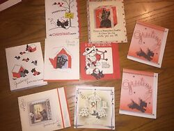 Lot of 9 Vintage Scottish Terrier Greeting Cards Christmas New Years