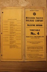 Missouri Pacific Palestine Division Employee Timetable 4 December 61959-vg