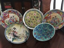 5 Antique Chinese/japanese Hand Painted Porcelain Decorative Plates
