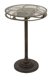 GwG Outlet Black Metal Accent Table with Glass Top and Movie Reel Design 51651
