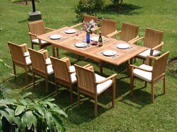 Dslu 11 Pc Dining 94 Rectangle Table Arm Stacking Chair Set Grade-a Teak Wood