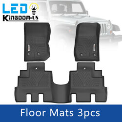Floor Mats For 2014-2018 Jeep Wrangler Unlimited Liners All Weather Rubber Set