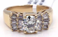 14k Yellow Gold 1.01 Carat Round Center Si1 K Solitaire Diamond Ring