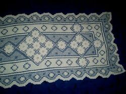Vintage -beautiful-tablecloths -filet Lace -handmade Table Runner
