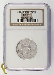 2002 Platinum P50 1/2 Ounce Statue Of Liberty Graded By Ngc As Ms-69