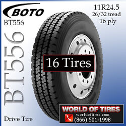 16ply Tires 11R24.5 Boto BT556 Set of 16 - FREE SHIPPING