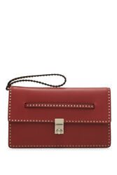 Valentino Garavani Rockstud Clutch (Red; Calfskin Leather)
