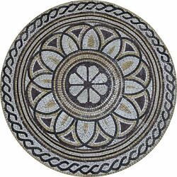 39 Abstract Floral Medallion Rope Border Mural Home Decor Marble Mosaic Md1907