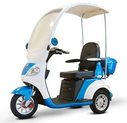 BLUE EW-44 3 Wheel Scooter with Windshield & Canopy 500 lb Cap Up to 15mph