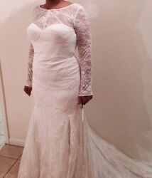 New Zac Posen Ivory Lace Wedding Dress Size, With Full Sleeves Form Fitting Us12