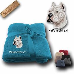 Fleecy Cuddle Blanket Pit Bull Terrier + Custom Text Embroidery