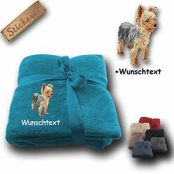 Fleecy Cuddle Blanket Yorkshire Terrier 02+ Name Embroidery 70 78x51 316in