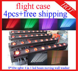 4pcs 8*10W RGBW 4 in 1 Led Beam Moving Bar Wall Wisher Flight Case Free Shipping