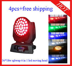 3618w Rgbwap 6 In 1 Led Moving Head Zoom Stage Party Light 4pcs Free Shipping
