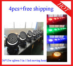 3615w Rgbwa 5 In 1 Led Moving Head Zoom Wash Party Dj Light 4pcs Free Shipping