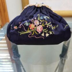 French Vintage Evening Bag Handbag Embroidery Beaded Pearls WChain