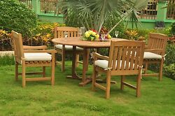 Dsdv Grade-a Teak Wood 5pc Dining 60 Round Table 4 Arm Chair Patio Outdoor Set