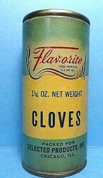 Rare Vintage Flavorite Brand Paper Label Cloves Round Spice Tin Free Shipping