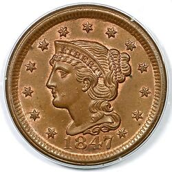 1847 N-3 R3 Pcgs Ms64 Rb Braided Hair Large Cent Coin 1c