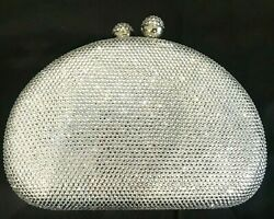 New Small Gold Hardshell Faux Shell and Clear Crystal Clutch Bag