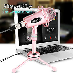 Professional 3.5mm Podcast Condenser Microphone PC Recording MIC with Desk Stand